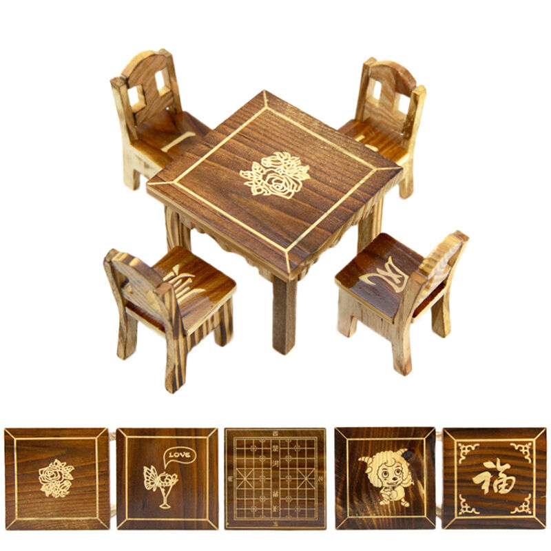 Mini Dining Room Wooden Dollhouse Miniature Furniture 1