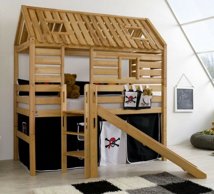 hochbett tom s h tte 1 kinderbett mit rutsche spielbett bett natur stoff pirat ebay. Black Bedroom Furniture Sets. Home Design Ideas