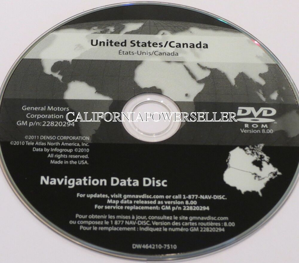 GM Navigation Map DVD Version 8.00 2012 Release (P/N