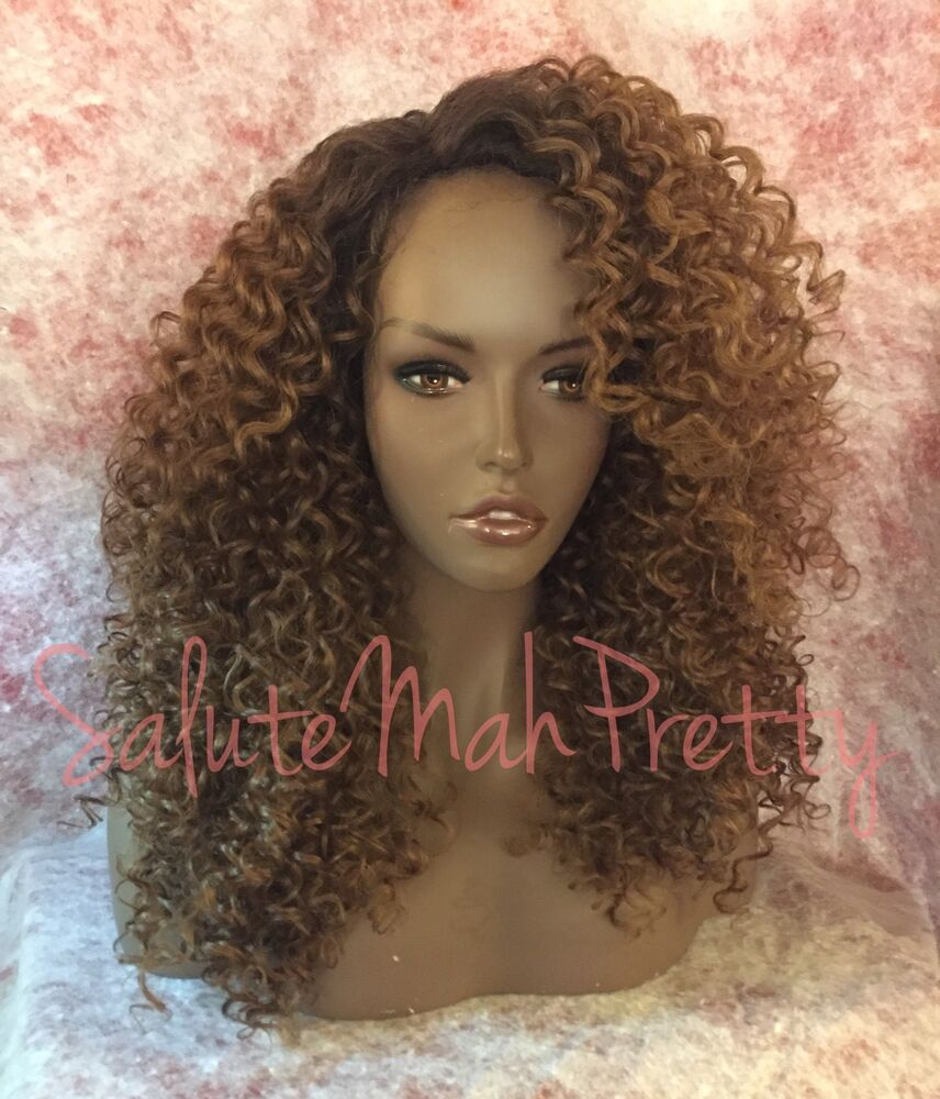 100 Human Hair Blend Curly Deep Realistic Part Lace Front