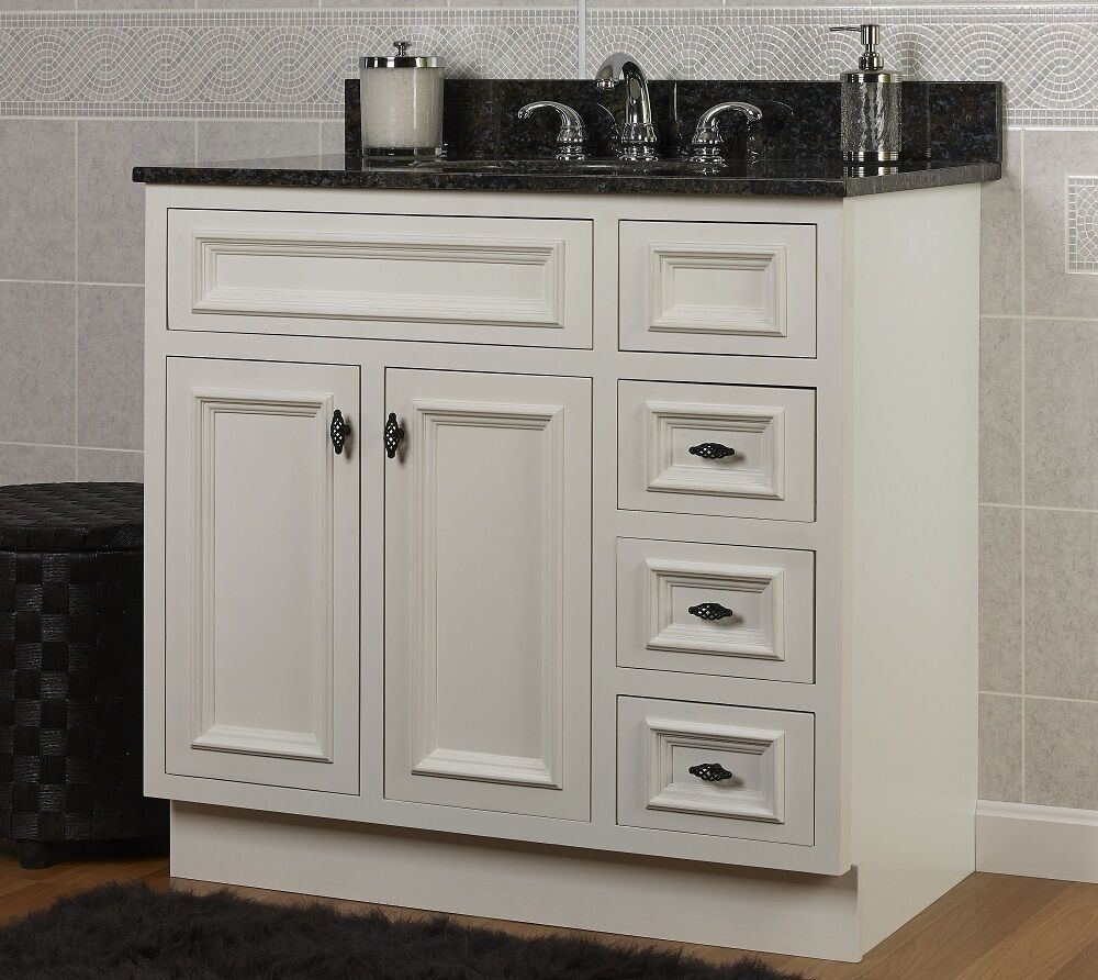 Jsi danbury white bathroom vanity base 36 solid wood frame 2 doors 3 rh drawers ebay Solid wood bathroom vanities cabinets