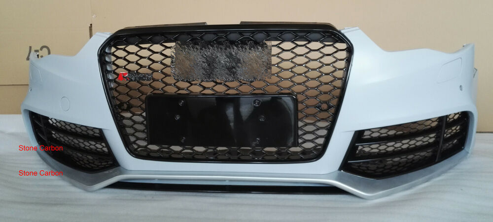rs5 style unpainted front bumper with grille grill fit for. Black Bedroom Furniture Sets. Home Design Ideas