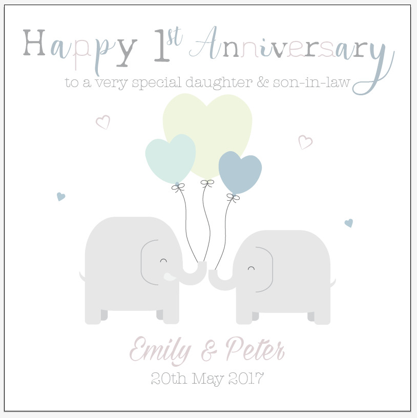 Personalised first wedding anniversary card son daughter