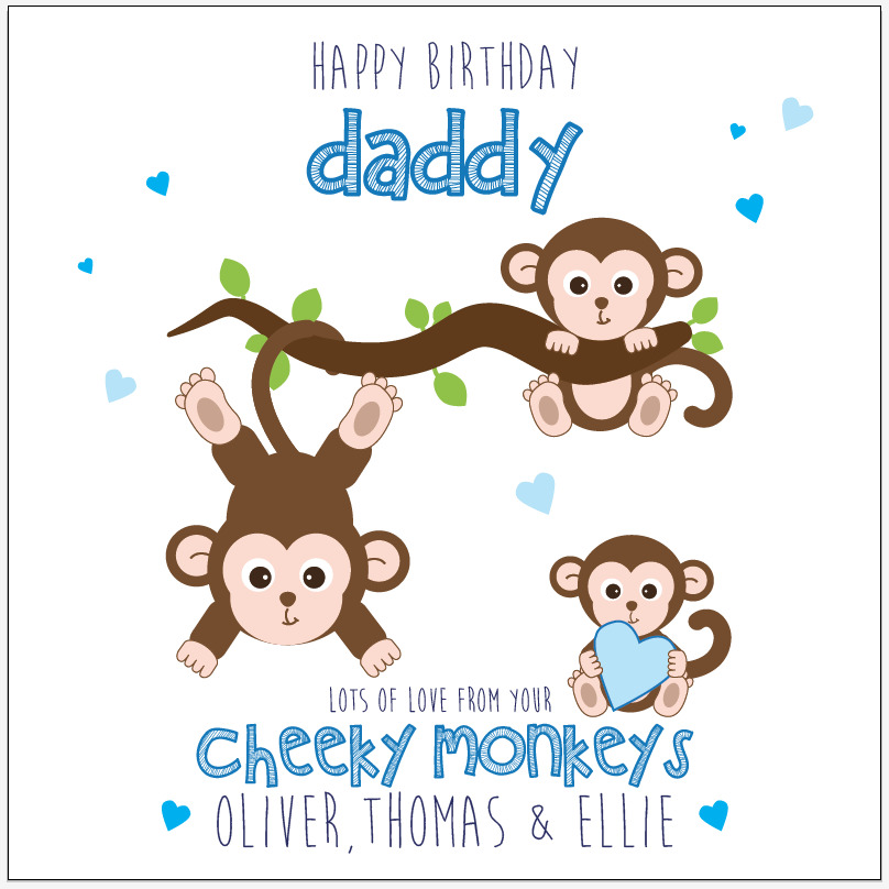 Details About Personalised Birthday Card Dad Daddy Cheeky Monkeys Any Message Names