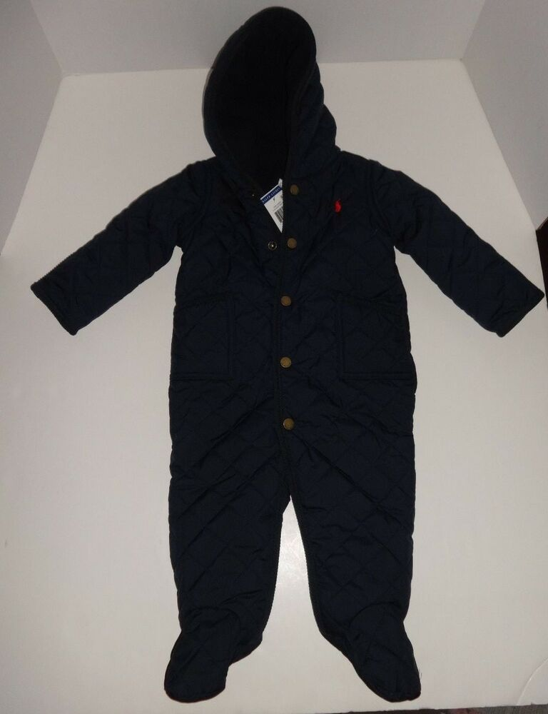 e5576a972 Details about NEW POLO RALPH LAUREN INFANT BABY BOY GIRL NAVY BUNTING SNOW  SUIT 3M, 6M, 9M