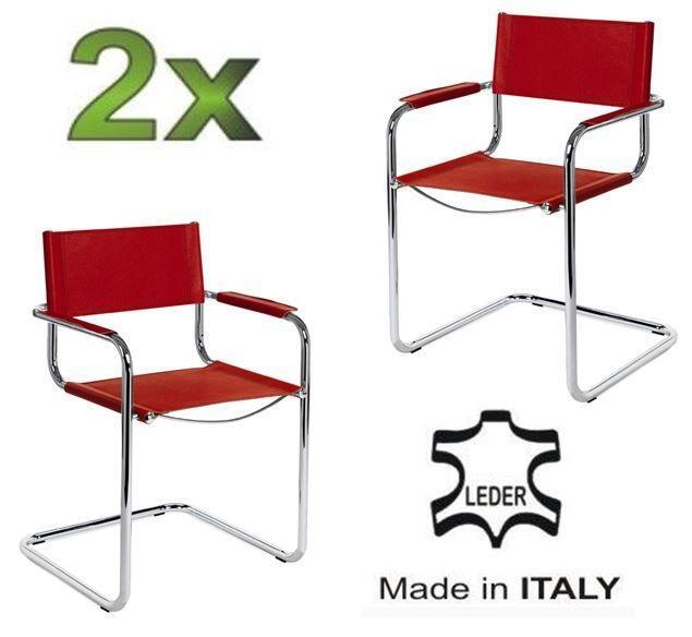 2x delta freischwinger klassiker besucherstuhl leder rot ebay. Black Bedroom Furniture Sets. Home Design Ideas