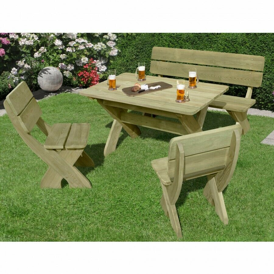 sitzgruppe toskana holz garten gartenm bel tisch mit bank. Black Bedroom Furniture Sets. Home Design Ideas