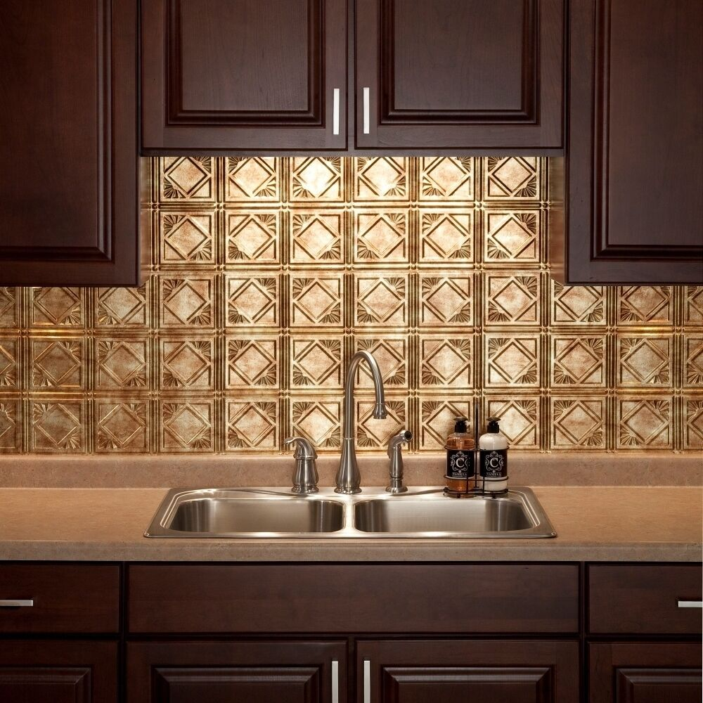 Kitchen backsplash decorative vinyl panel wall tiles bathroom bath decor bronze ebay - Kitchen backsplash panel ...
