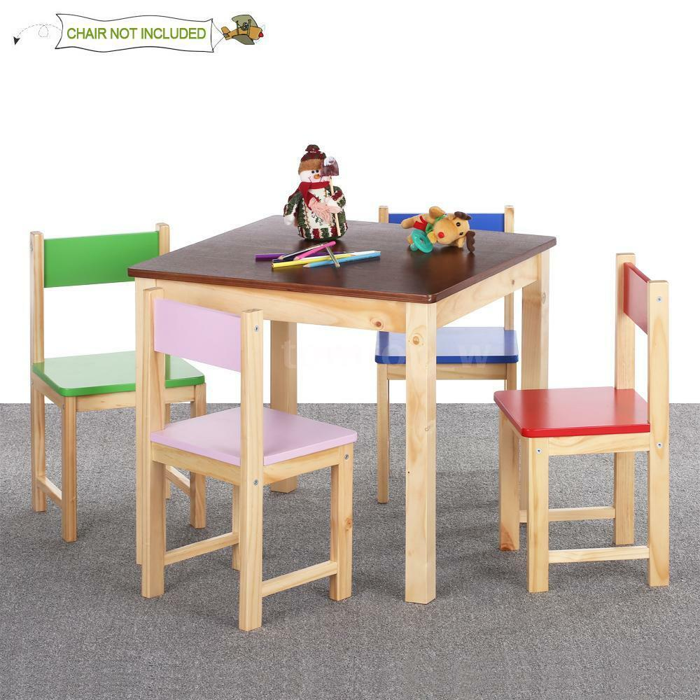 Kids children wood chair stool stacking table activity for Wooden kids table