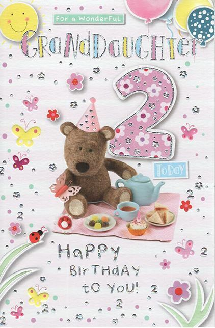 Details About Granddaughter 2 Today 2nd Bear Bunting Design Happy Birthday Card Lovely Verse