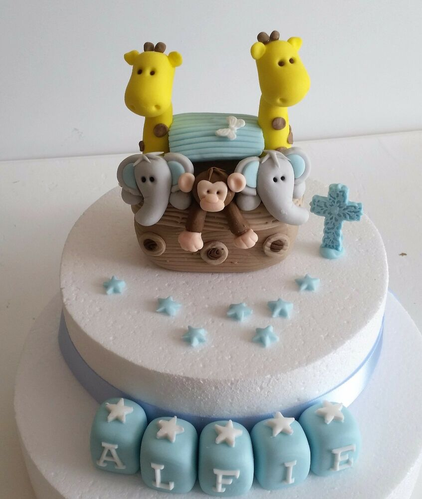 Edible Elephant Cake Decorations : edible noahs ark boy girl elephant giraffe monkey cake ...