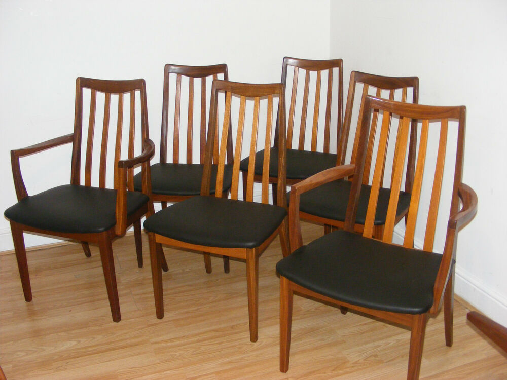 Mid century g plan set of 6 teak vintage dining chairs for G plan teak dining room chairs
