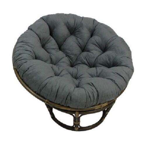 Large papasan chair cushion tufted microsuede rattan bowl for Large wicker moon chair