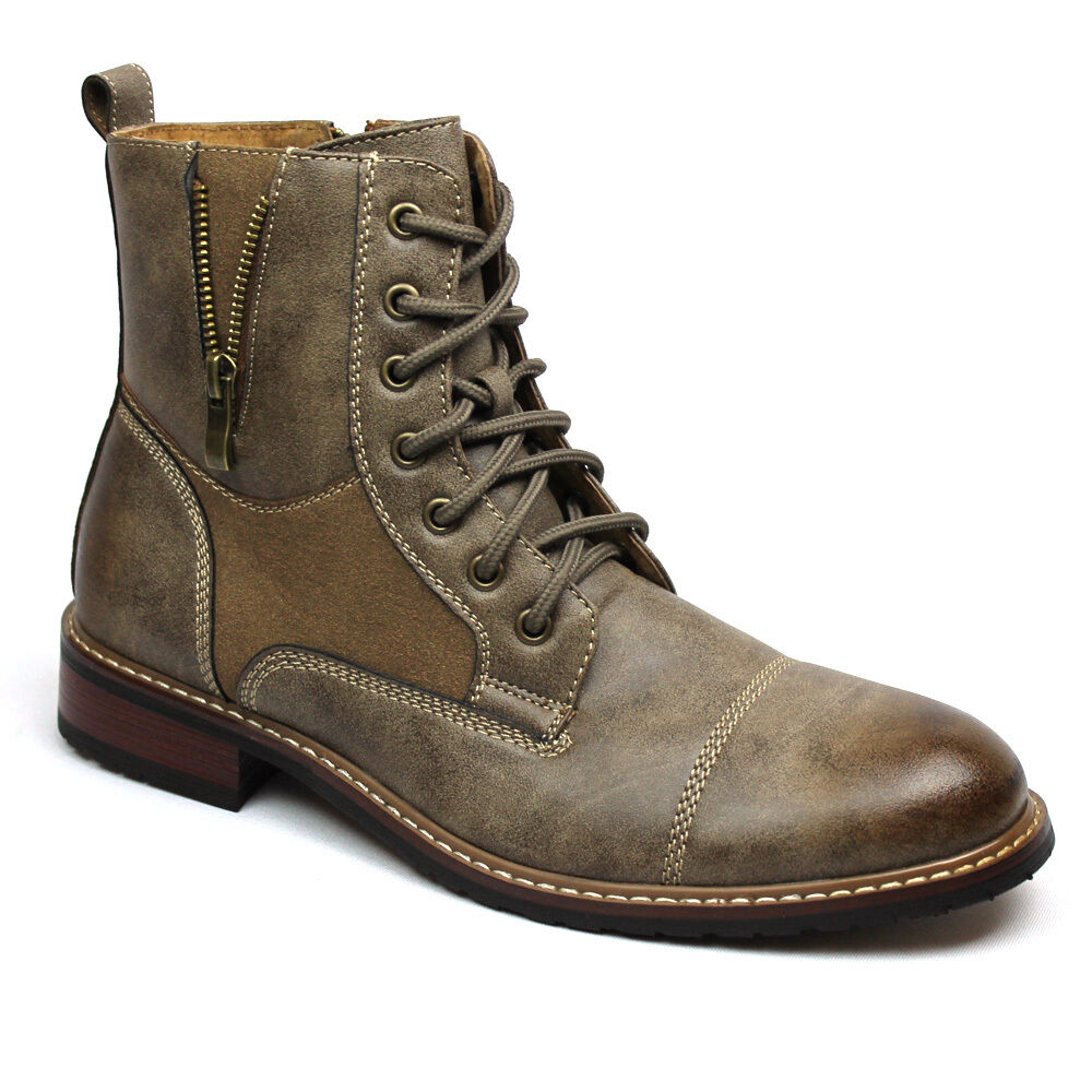 mens brown boot ferro aldo high top cap toe suede leather lace up zipper 808561 ebay. Black Bedroom Furniture Sets. Home Design Ideas