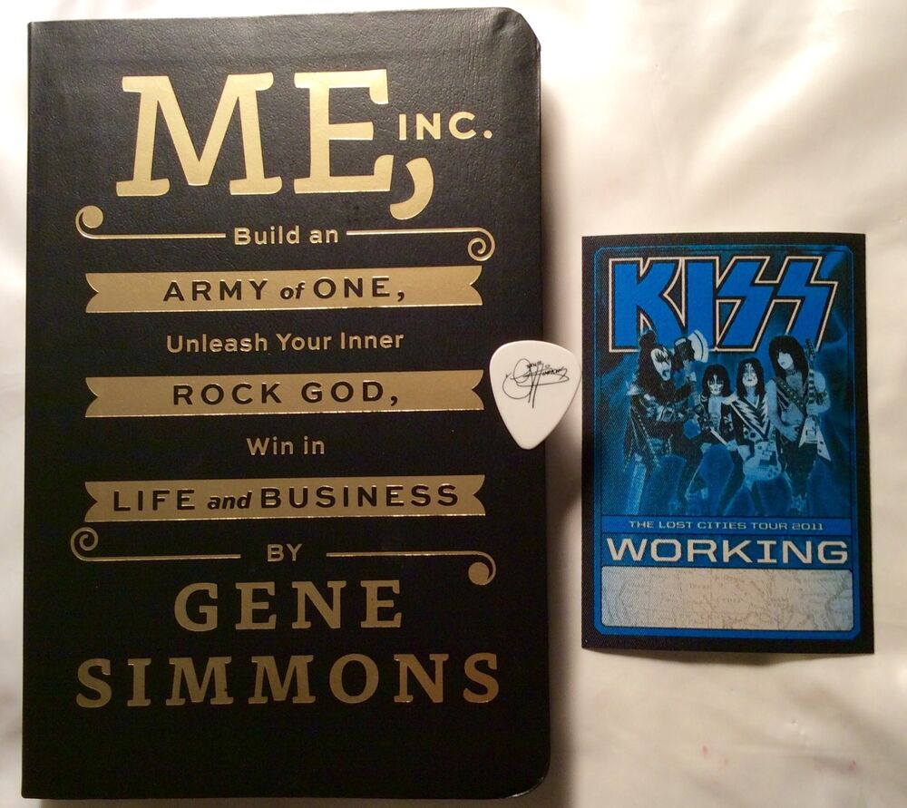 kiss gene simmons signed book rare guitar pick amp backstage pass 120