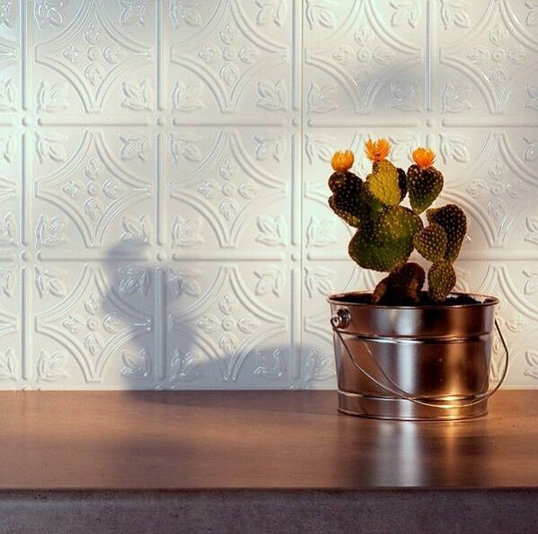 Kitchen Backsplash White Decorative Vinyl Panel Wall Tiles