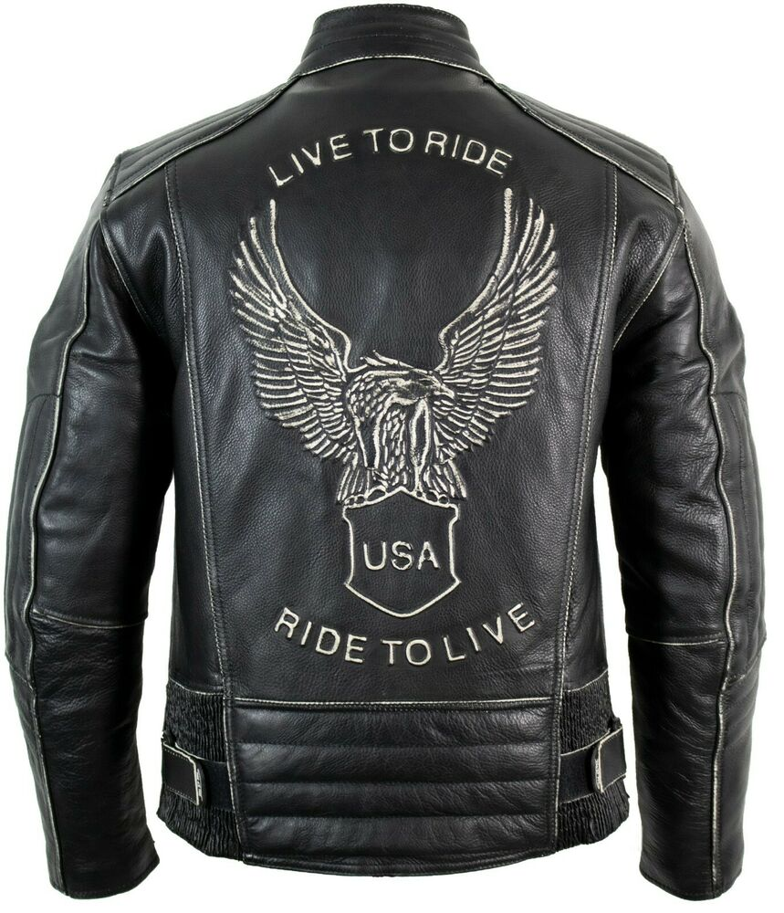 motorrad lederjacke im antik retro used look adler pr gung. Black Bedroom Furniture Sets. Home Design Ideas