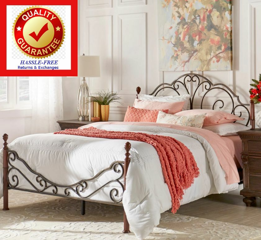 King size metal bonze iron bed frame antique style bedroom for Iron bedroom furniture