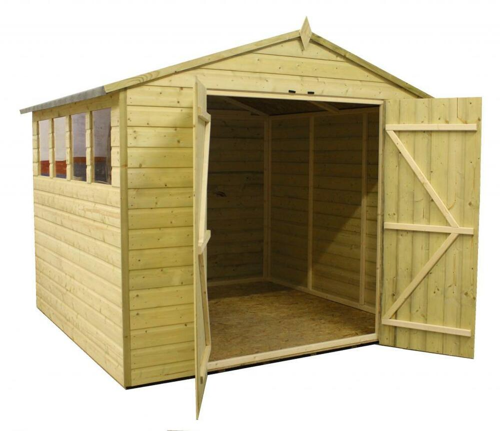 Garden shed 8x8 apex shed pressure treated extra height 4 for Garden shed 8x8