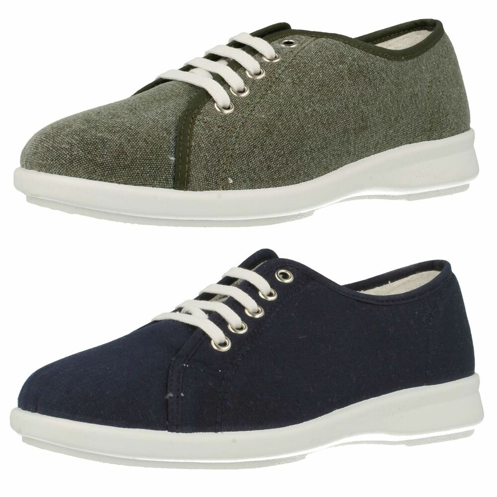 9adf2c79e62 LADIES EASY B DB ANTHEA LACE UP SMART CASUAL FLAT EVERYDAY WIDE FIT CANVAS  SHOES