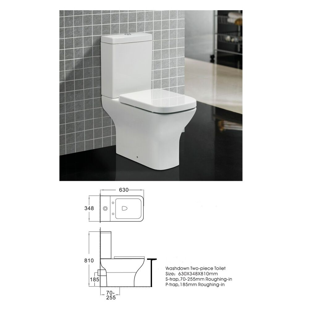 Square White Close Coupled Btw Toilet Pan Cistern Comfort