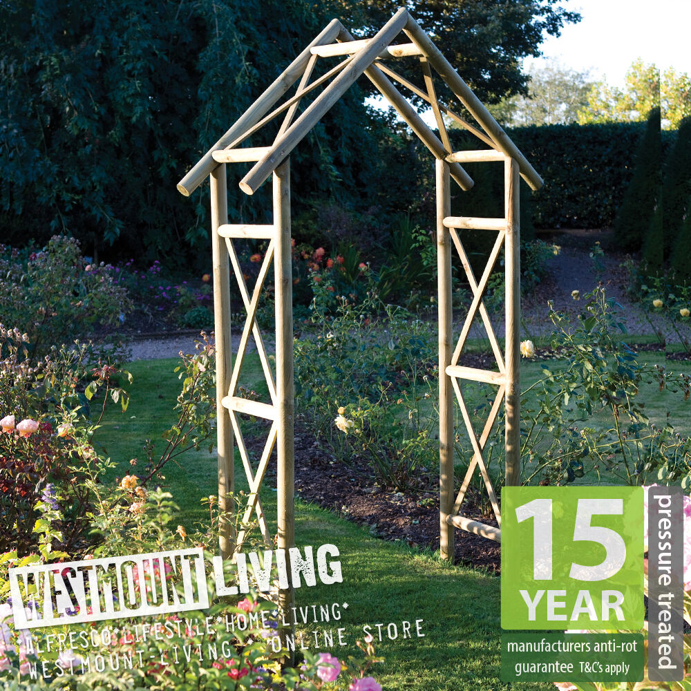 New Wooden PRESSURE TREATED Garden Rustic Rose Arch
