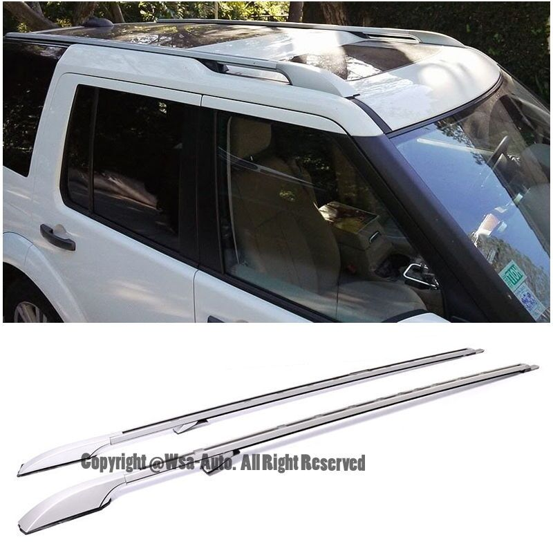 Long Version Silver Top Roof Side Rails For 05-Up Land