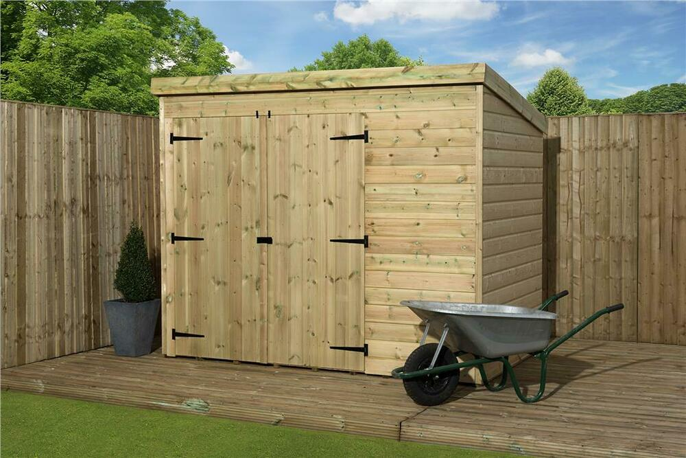 garden shed 7x6 shiplap pent roof pressure treated tanalised with double door ebay