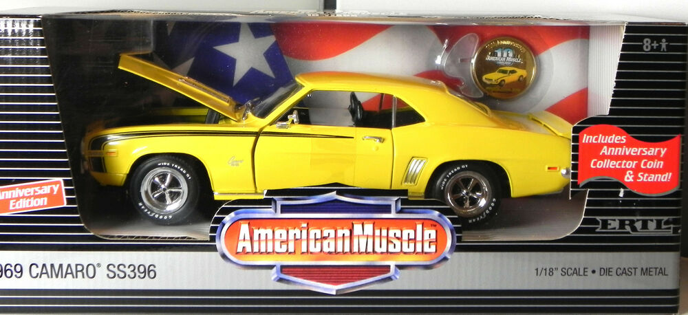 Ertl 118 1969 Chevy Camaro SS396 Yellow Diecast Model Car