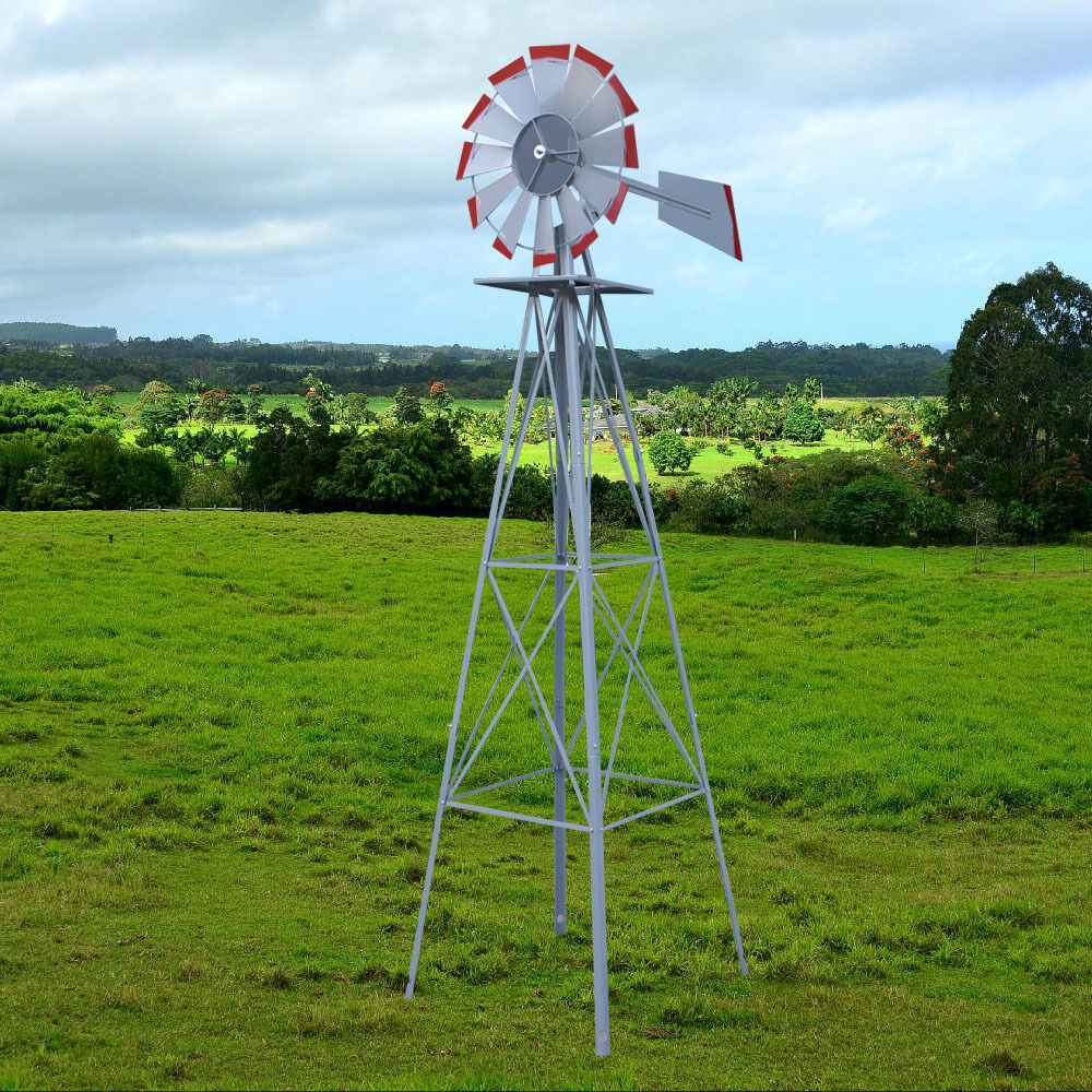 ornamental windmill tower fan blades wind speed heavy steel garden