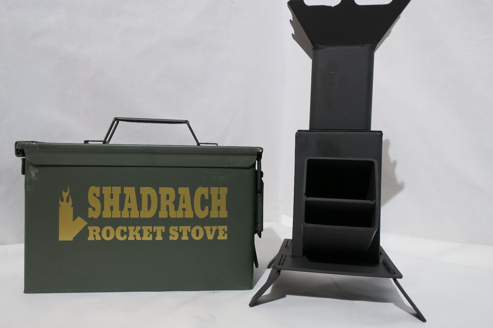 Portable rocket stove in ammo can for cooking hand made for Portable rocket stove plans