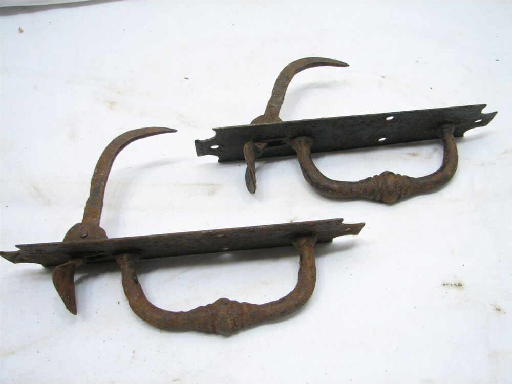 Antique Hand Forged Iron Door Handle Latch Pull Colonial