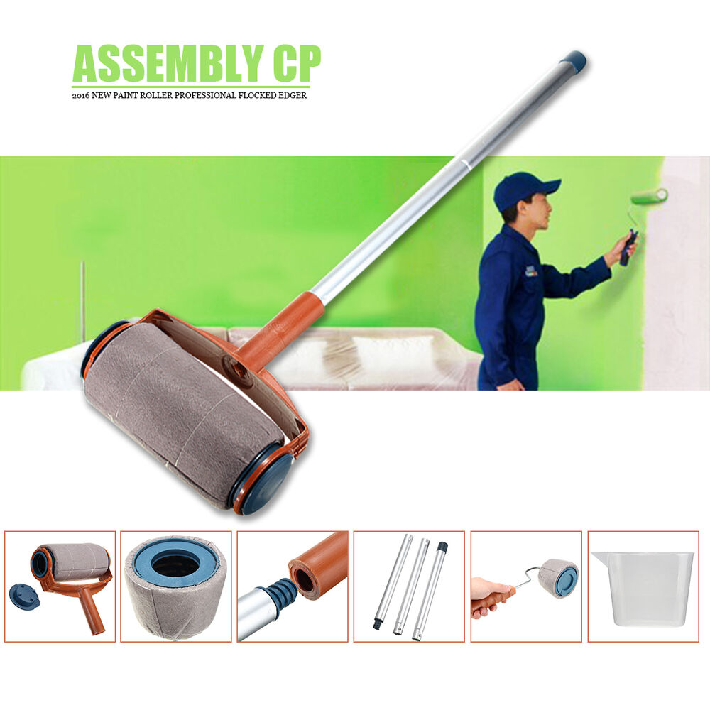 6pcs set pro paint roller brush handle flocked edger room wall painting runner ebay - Paints for exterior walls set ...
