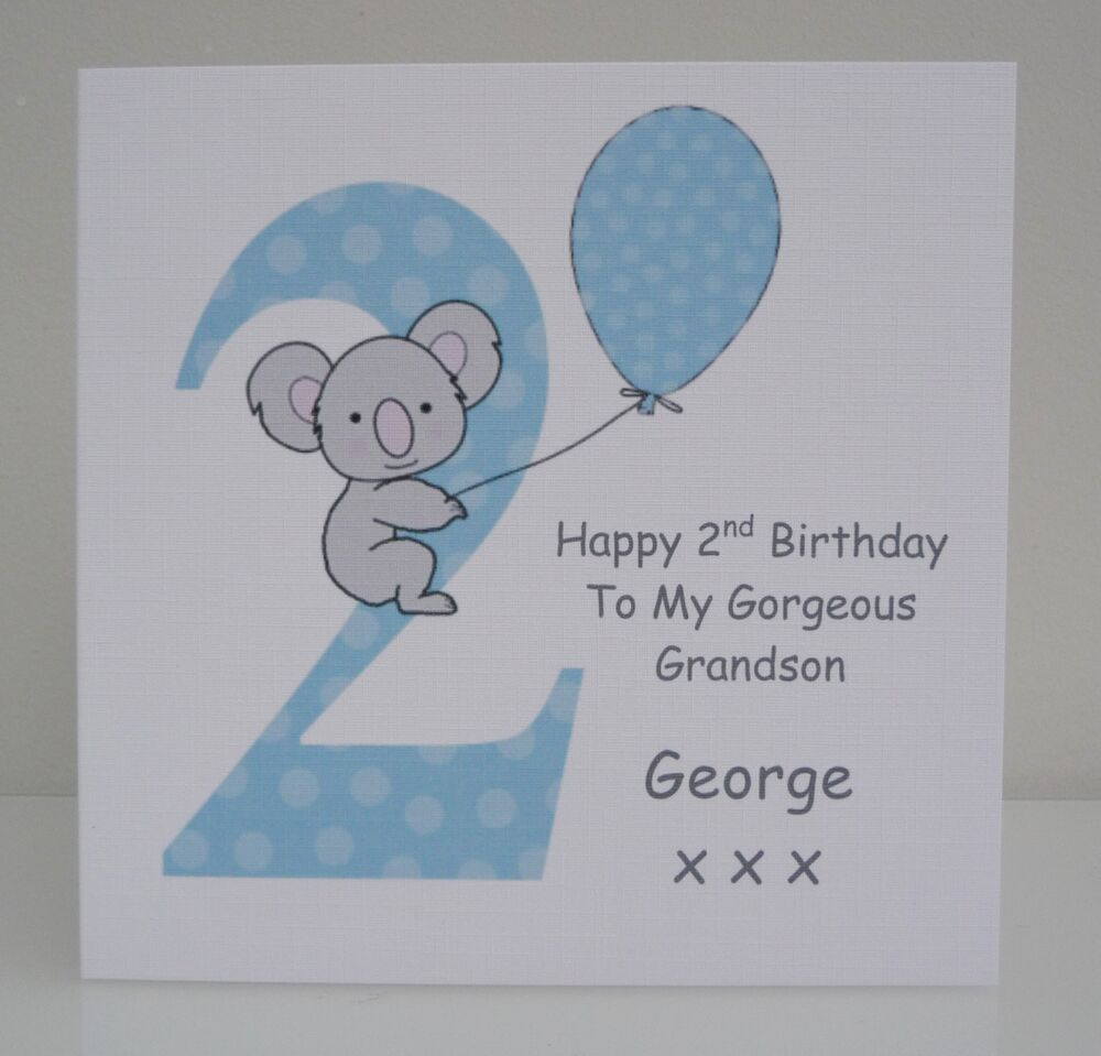 Personalised Boys 2nd Birthday Card Son Grandson Nephew Godson