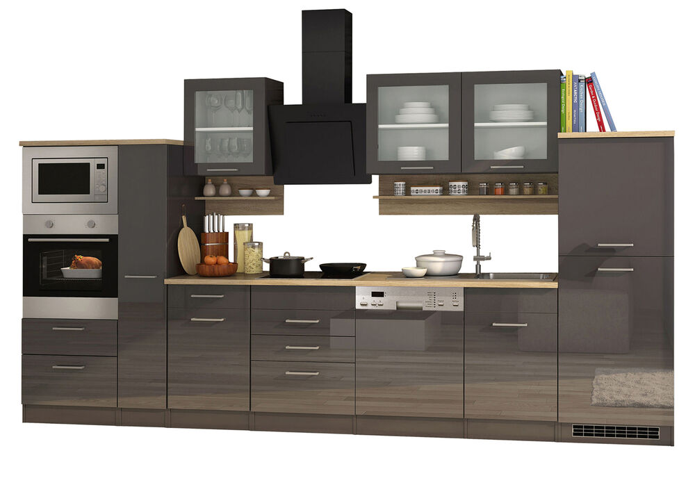 k chenzeile k chenblock einbauk che mit elektroger ten 370 cm hochglanz grau ebay. Black Bedroom Furniture Sets. Home Design Ideas