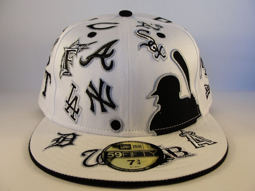 a7f881ae563 Details about MLB All Over Team Logos New Era 59FIFTY Fitted Hat Cap White  Black