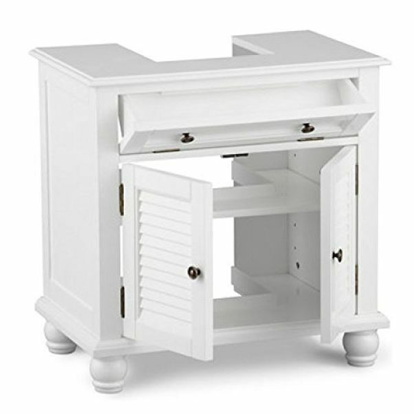 Under pedestal sink storage space saver organizer shelf - Bathroom vanity under sink organizer ...