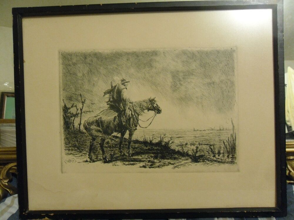 RARE ANTIQUE 1925 WESTERN ETCHING / LITHOGRAPH PRINT ...