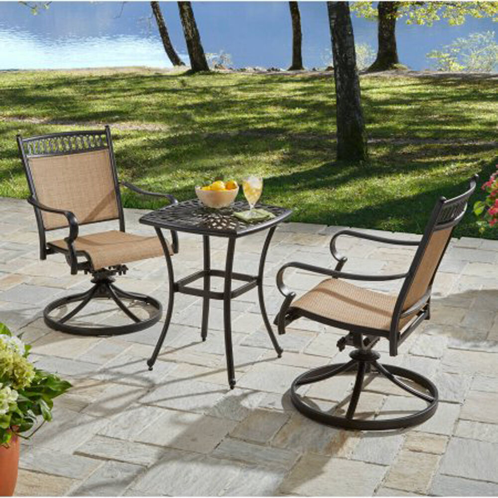 Bistro Set 3 Piece Aluminum Table And Swivel Sling Fabric
