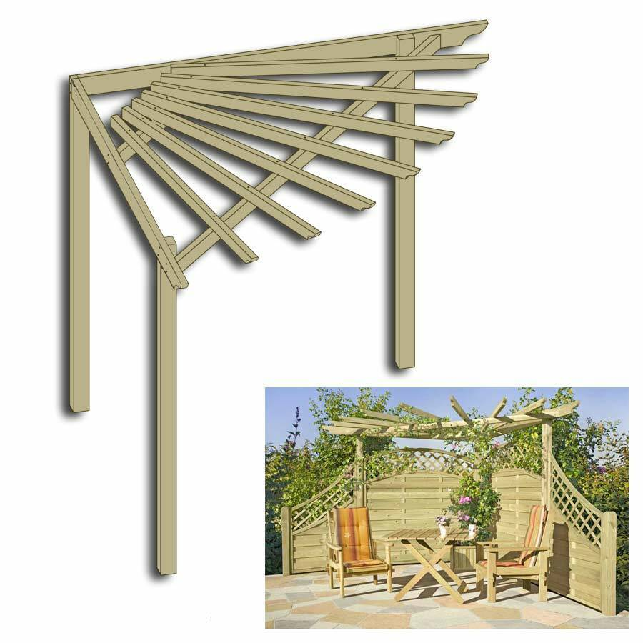 eckpergola 240 x 240 x 220 cm pergola aus holz f r terrasse gartenecke ebay. Black Bedroom Furniture Sets. Home Design Ideas