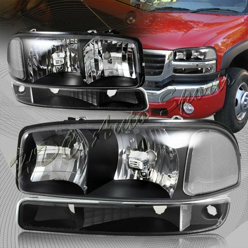 for 1999 2006 gmc sierra 1500 2500 black headlights bumper. Black Bedroom Furniture Sets. Home Design Ideas