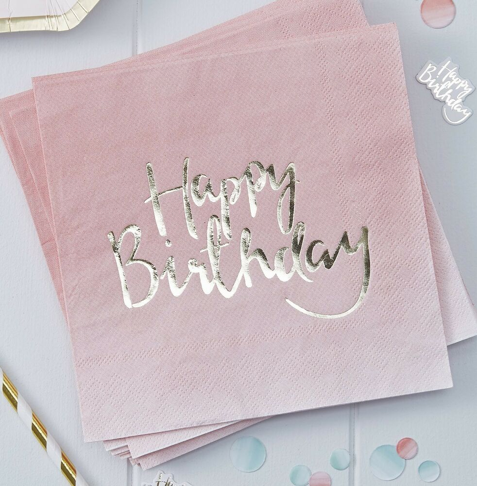 20 servietten happy birthday 33 x 33 cm rosa gold ombre for 1 geburtstag deko rosa