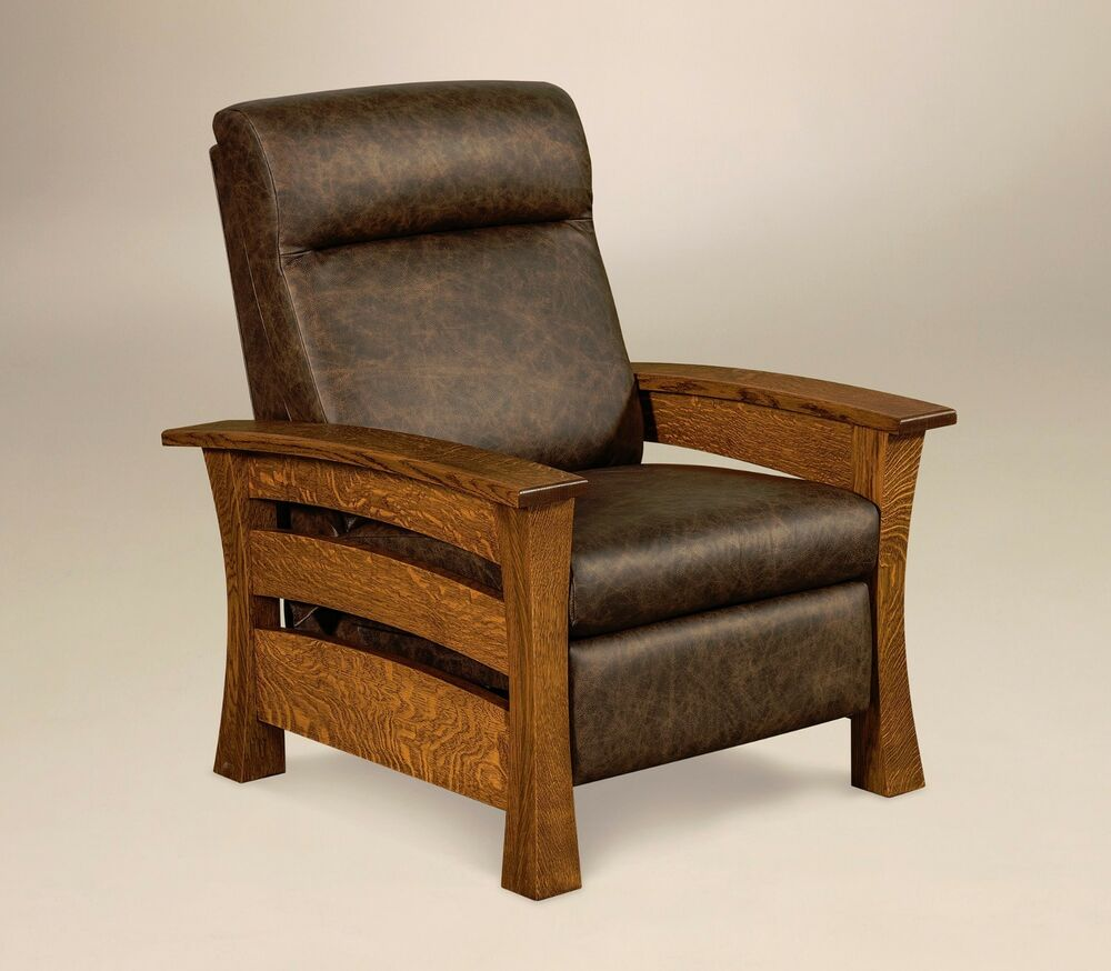 amish mission arts and crafts recliner chair barrington solid wood leather ebay. Black Bedroom Furniture Sets. Home Design Ideas
