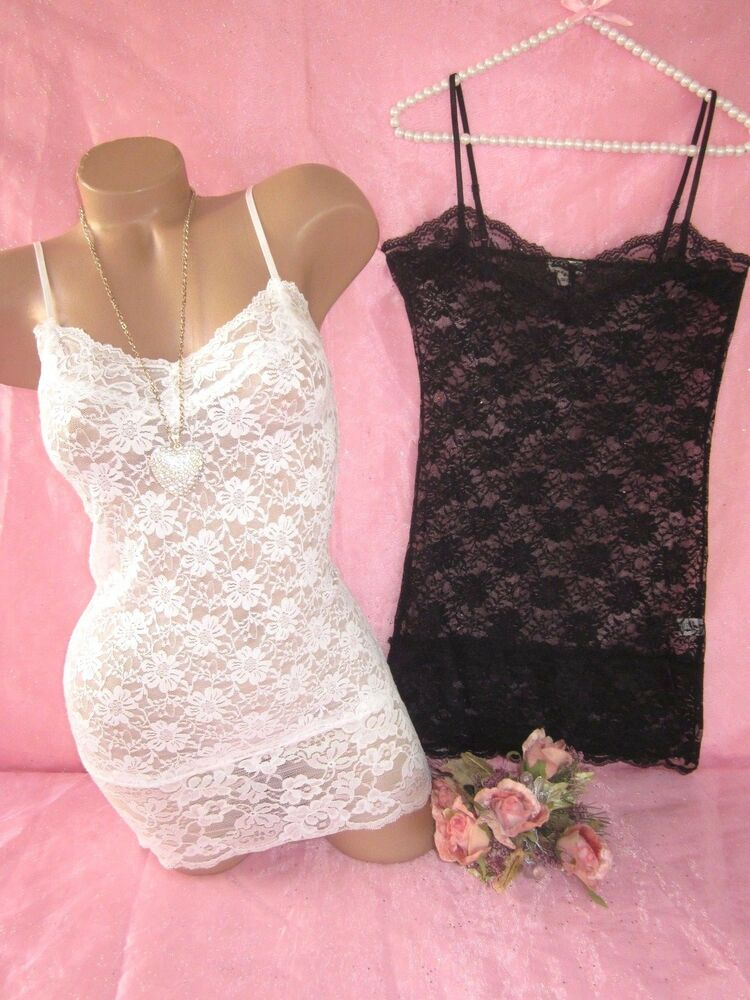 All Over Women's Lace Camisole Tank Top Blouse Long ...