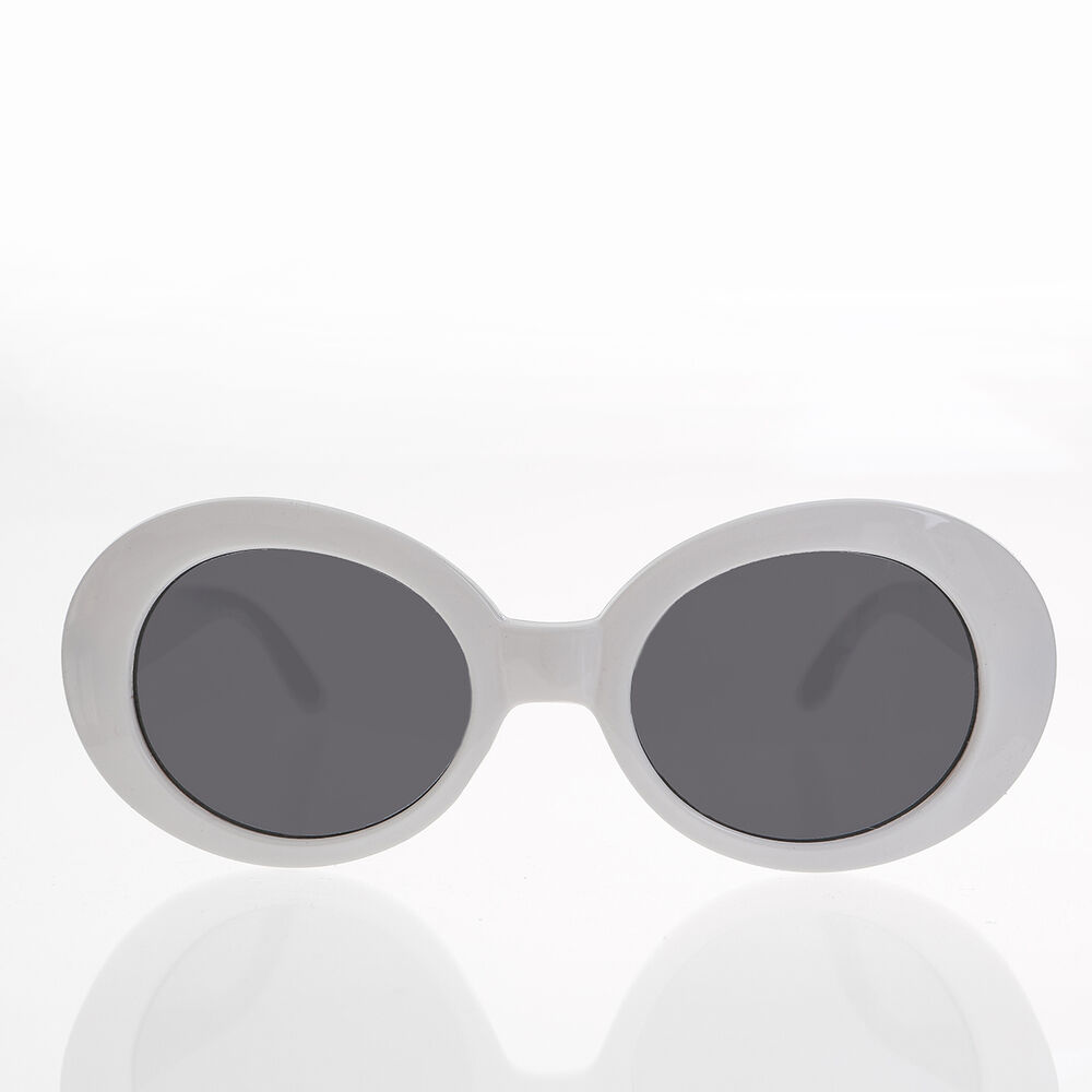 Details about White Oval Clout Sunglasses   Thick Frame Nirvana Sunglass -  Kurtis f1231a727