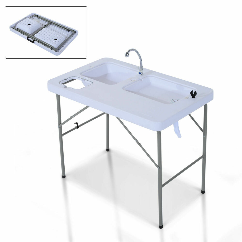 camp kitchen with sink portable folding fish cleaning cutting table outdoor 5092