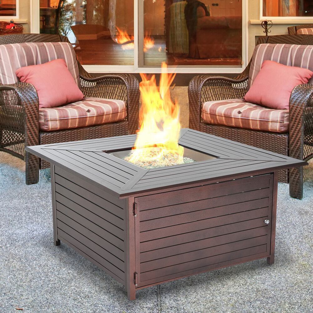 Outdoor Gas Propane Fire Pit Table Fireplace Aluminum Patio Deck Heater - Outdoor Gas Fireplace EBay
