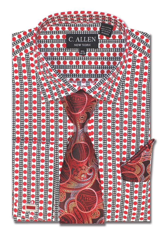 C allen 100 cotton mens dress shirt tie combo french for Dress shirts and tie combos sale