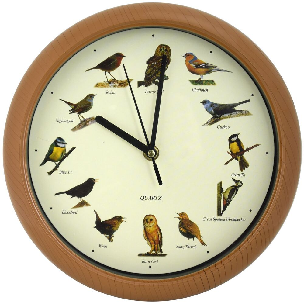 Musical Wall Clock Singing Bird Animal Sound Every Hour Battery Power Sleep  Mode | EBay