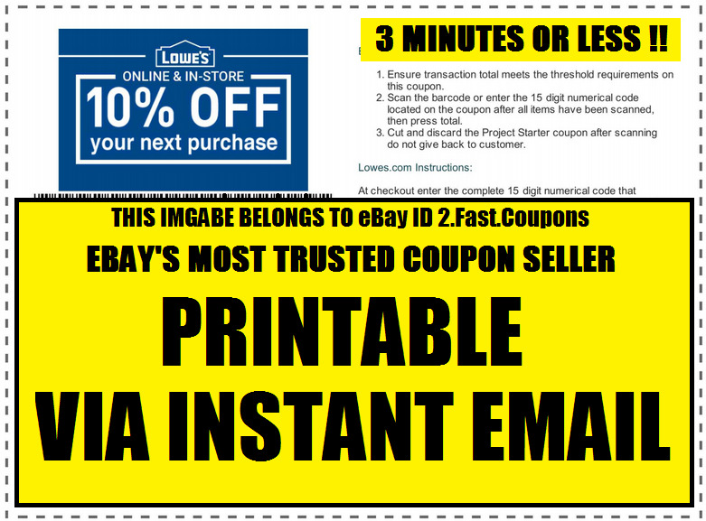 (2x) TWO Lowes 10% off Printable-Coupon Valid In-Store or Online Fast Email | eBay